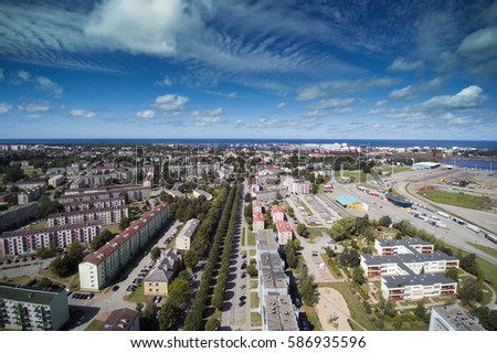 Aerial view of Ventspils city, Latvia. #586935596