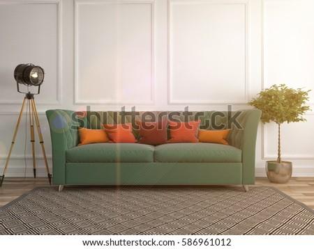 interior with sofa. 3d illustration #586961012
