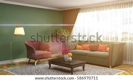 interior with sofa. 3d illustration #586970711