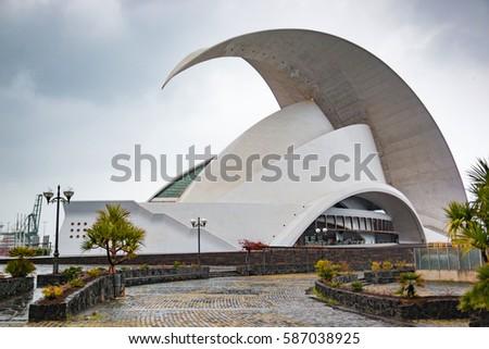 SANTA CRUZ DE TENERIFE, SPAIN - 12.02.2017: Auditorio de Tenerife in Santa Cruz in Tenerife, Canary Islands, Spain. This auditorium was designed by famous architect Santiago Calatrava #587038925