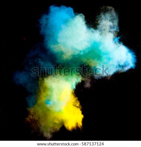 Colorful powders on black background #587137124
