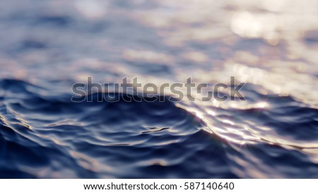 Sea wave close up, low angle view, sunrsie shot #587140640