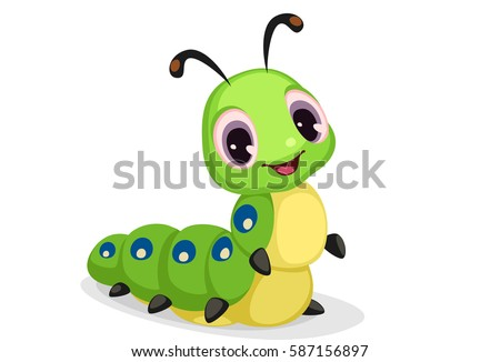 Cute caterpillar cartoon vector illustration
