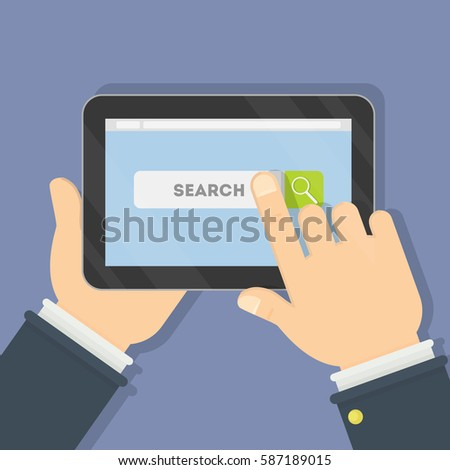 Internet search page on the tablet computer #587189015