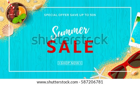 Summer sale beautiful web banner. Top view on seashells, sun glasses, fresh cocktail, smartphone and sea sand on wooden texture. Vector illustration with spesial discount offer. Royalty-Free Stock Photo #587206781