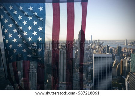 New York City skyline with urban skyscrapers and American Flag, conceptual idea, toned picture