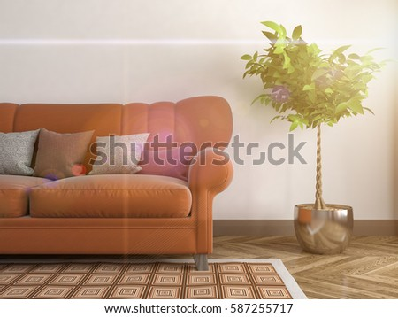 interior with sofa. 3d illustration #587255717