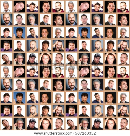 face collage of men with different expressions #587263352