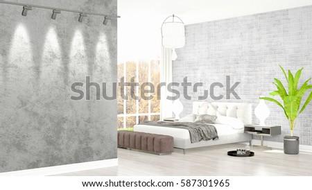 Modern bright interior . 3D rendering #587301965
