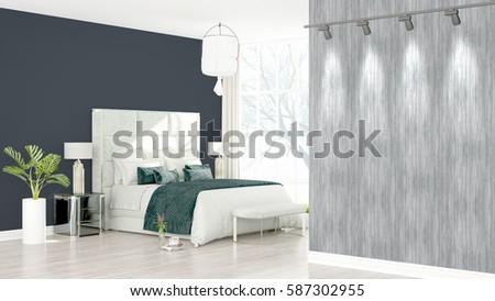 Modern bright interior . 3D rendering #587302955