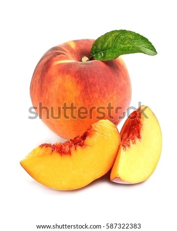 Sweet peach isolated on white backgrounds. #587322383