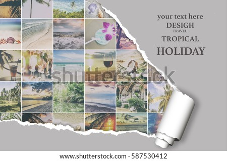 Background with many photos from vacation on beautiful a seaside with effect ofripped paper. Design, advertising, concept