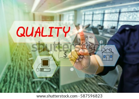 Businessman touching virtual screen, blurred background meeting room,technology conceptual, quality concept #587596823
