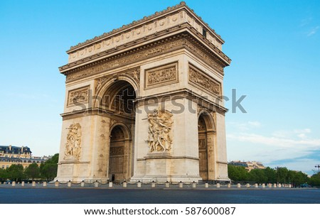The Triumphal Arch is one of the most visited monuments in Paris. It honors those who fought and died for France. #587600087