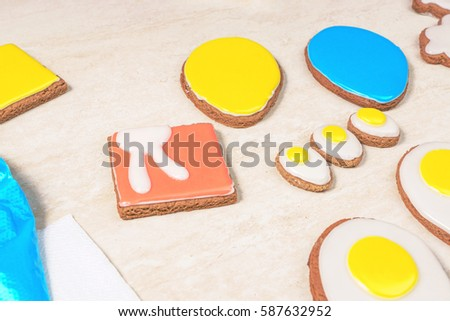 Glazed gingerbread shaped as a square #587632952