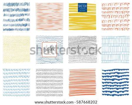 Set of abstract square backgrounds and sketch dots textures. Vector illustration. Royalty-Free Stock Photo #587668202