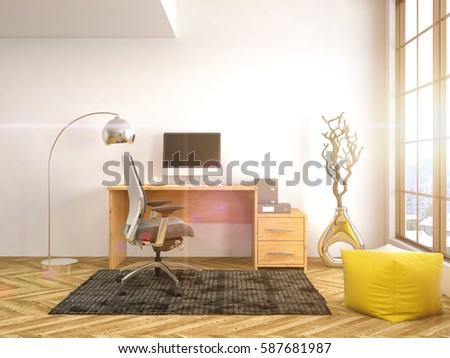 Office interior. 3D illustration #587681987