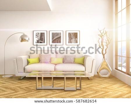 interior with sofa. 3d illustration #587682614