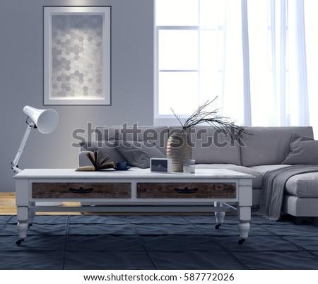 Modern interior design of living room 3D Rendering, 3D Illustration #587772026