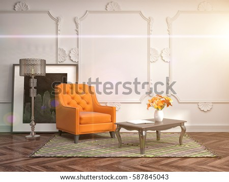 interior with chair. 3d illustration #587845043