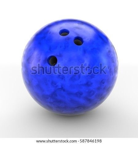 Blue bowling ball isolated on white background. 3D rendering. #587846198