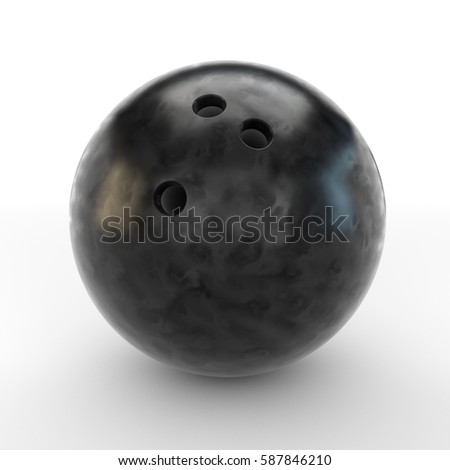 Black bowling ball isolated on white background. 3D rendering. #587846210