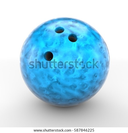 Blue bowling ball isolated on white background. 3D rendering. #587846225