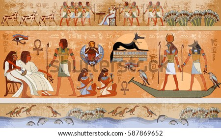 Ancient Egypt scene, mythology. Egyptian gods and pharaohs. Hieroglyphic carvings on the exterior walls of an ancient temple #587869652