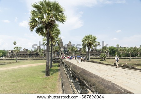 Angkor Wat at Siem Riap in Cambodia/Great temple/Bridge for the temple #587896064