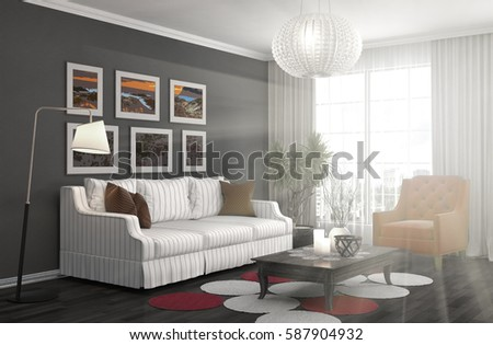 interior with sofa. 3d illustration #587904932