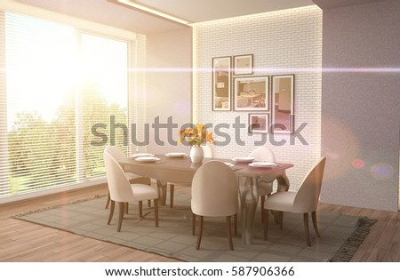 Interior dining area. 3d illustration #587906366