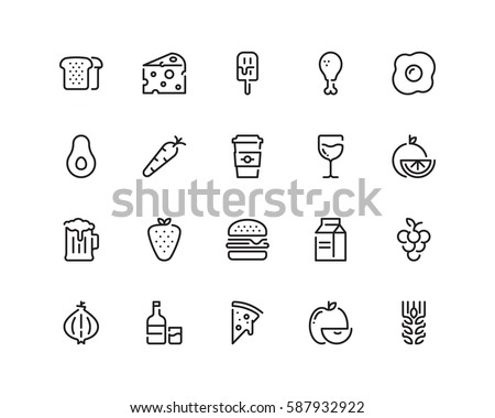 Food icon set, outline style Royalty-Free Stock Photo #587932922