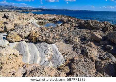 Coral Bay. Paphos district. Wild nature of Cyprus island #587971295