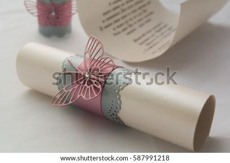 Scroll wedding invitation. #587991218