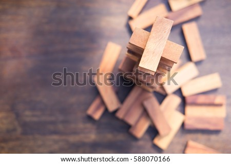 Wood blocks stack game with copy space, background. Concept of education, risk, development, and growth Royalty-Free Stock Photo #588070166