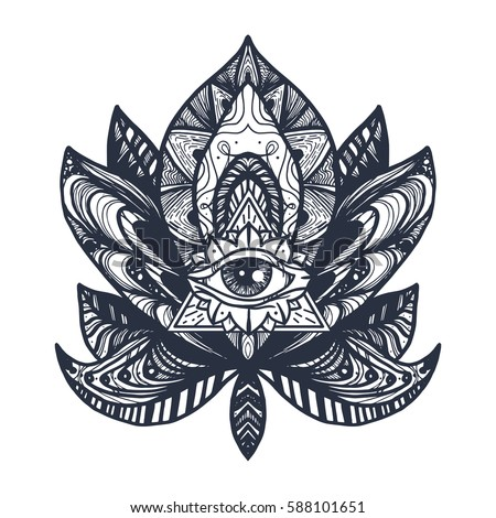 Vintage All Seeing Eye in Mandala Lotus. Providence magic symbol for print, tattoo, coloring book,fabric, t-shirt, cloth in boho style. Astrology, occult, esoteric insight sign with eye. Vector #588101651