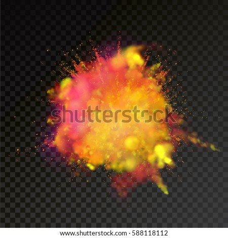 Paint powder explosion on transparent background. Yellow and Red dust explode for celebration or holiday design element Royalty-Free Stock Photo #588118112