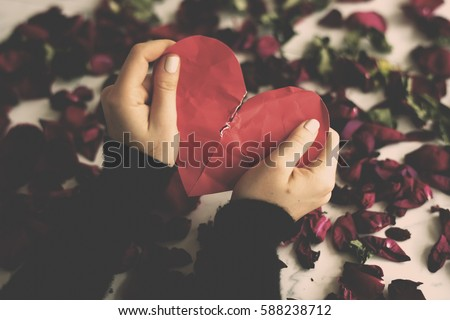 Broken Heart Sadness Frustration Flower Leafs Royalty-Free Stock Photo #588238712