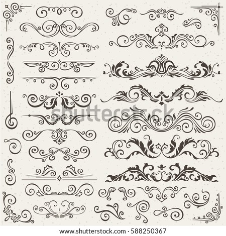 Flourish Border Corner and Frame Elements Collection. Vector Card Invitation Elements. Victorian Grunge Calligraphic. Wedding Invitations Set. Medieval Ornament Borders. Flower and Leaf Silhouette