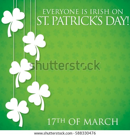 Hanging shamrock St Patrick's Day card in vector format. #588330476