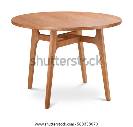 Brown, light brown wooden round dining table. Modern designer, dining table isolated on white background. Series of furniture. #588358070