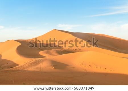 Erg Chebbi Sand dunes in Sahara Desert near Merzouga, Morocco #588371849