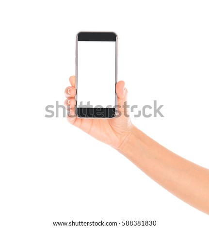 Business hand with mobile phone #588381830