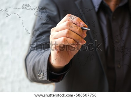 Close up hand business man drawing World #588507758