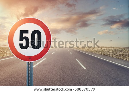 Road sign speed limit on the road