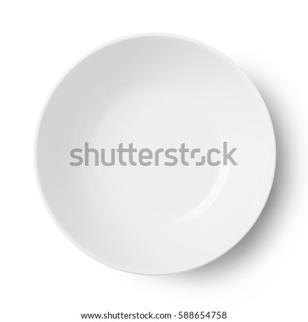 Empty plastic round plate isolated on white with clipping path #588654758