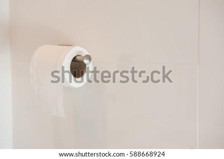 Toilet paper, Toilet Roll, Toilet paper in toilet.   #588668924