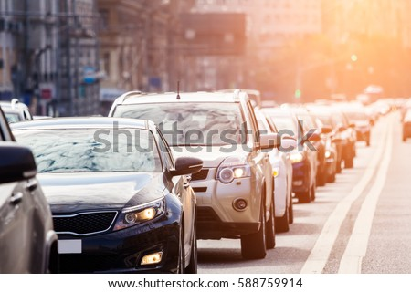 Close-up of the lane of cars in traffic jam #588759914