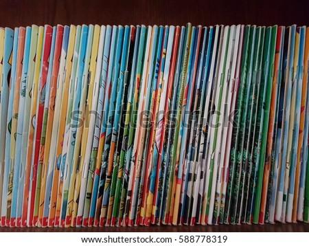 Vintage Comic books in bookshelf