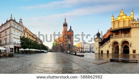 Historic Krakow Market Square in the Morning, Poland #588862982